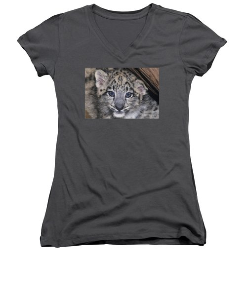 Snow Leopard Cub Endangered Women's V-Neck (Athletic Fit)