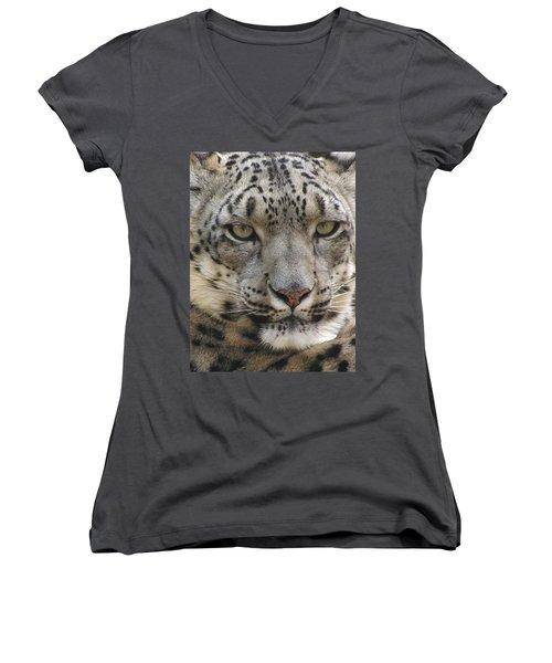 Women's V-Neck T-Shirt (Junior Cut) featuring the photograph Snow Leopard by Diane Alexander