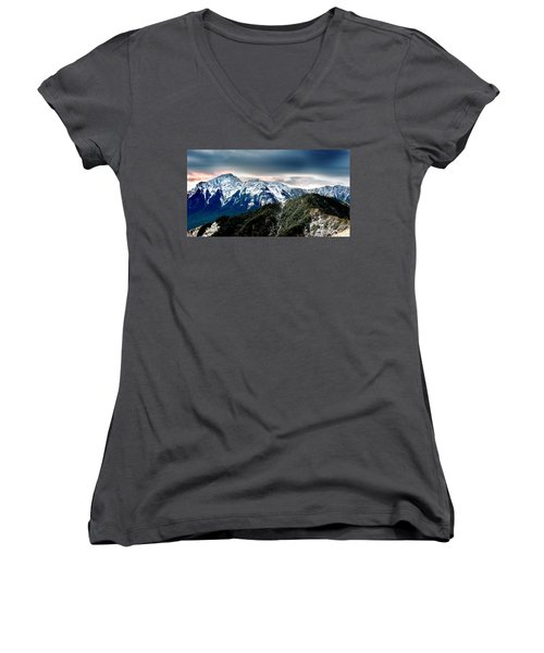 Women's V-Neck T-Shirt (Junior Cut) featuring the photograph Snow Mountain by Yew Kwang