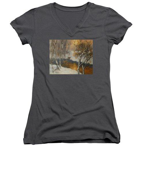 Snow Sunset Paintings Women's V-Neck