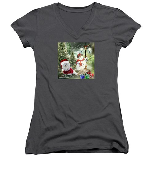 Snowdrop And The Snowman Women's V-Neck (Athletic Fit)