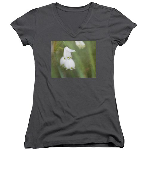 Women's V-Neck T-Shirt (Junior Cut) featuring the photograph Snowdrops by Katie Wing Vigil