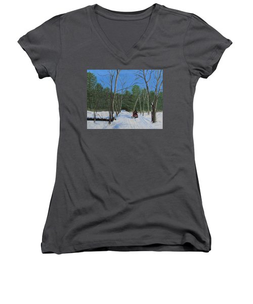 Snowmobile On Trail Women's V-Neck T-Shirt