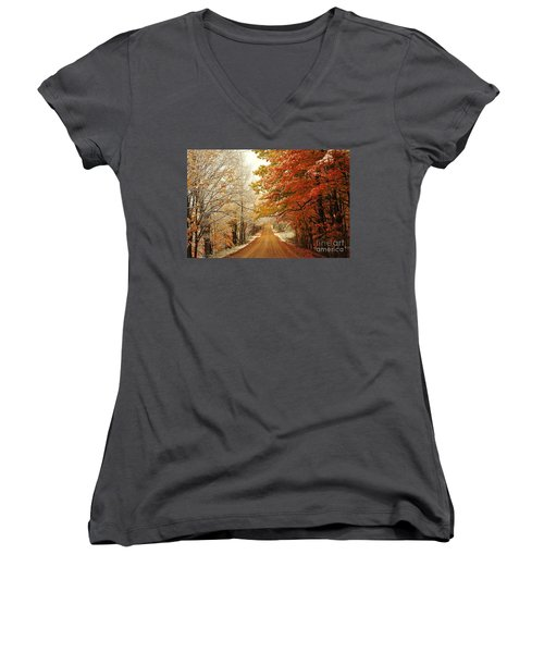 Snowy Autumn Road Women's V-Neck (Athletic Fit)