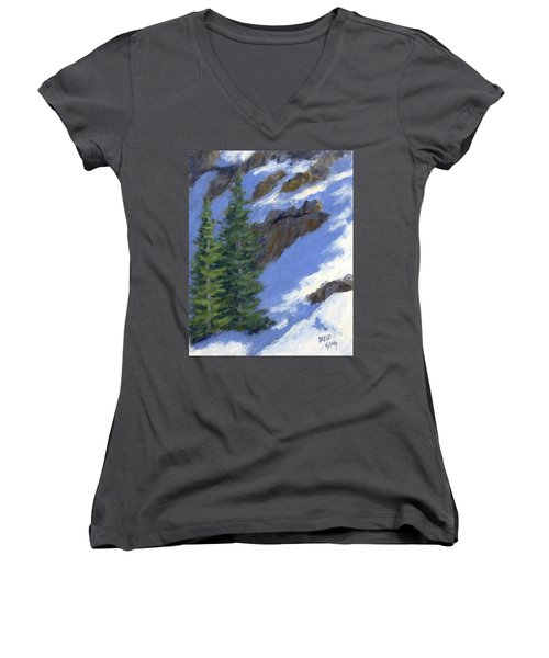 Snowy Slope Women's V-Neck T-Shirt