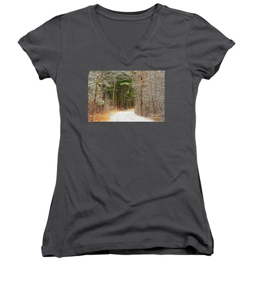 Snowy Tunnel Of Trees Women's V-Neck T-Shirt (Junior Cut) by Terri Gostola