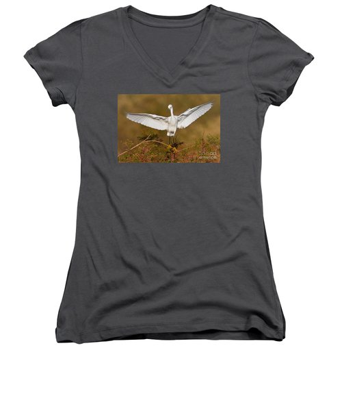 Women's V-Neck T-Shirt (Junior Cut) featuring the photograph Snowy Wingspread by Bryan Keil