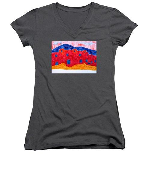 Soft Pueblo Original Painting Women's V-Neck