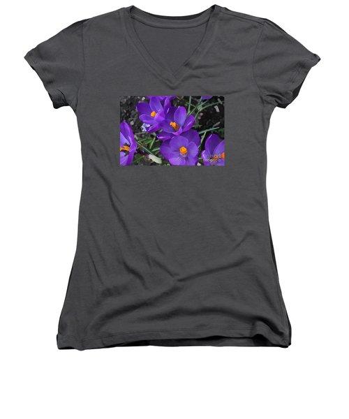 Soft Purple Crocus Women's V-Neck (Athletic Fit)