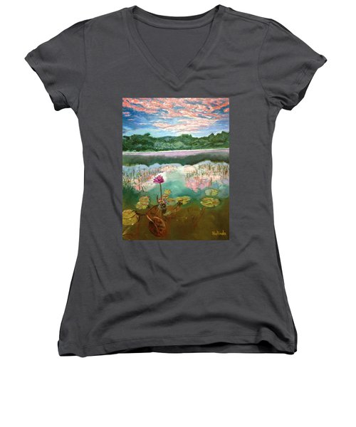 Solitary Bloom Women's V-Neck T-Shirt (Junior Cut) by Belinda Low