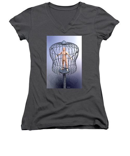 Solitary Women's V-Neck T-Shirt (Junior Cut) by Stephen Younts