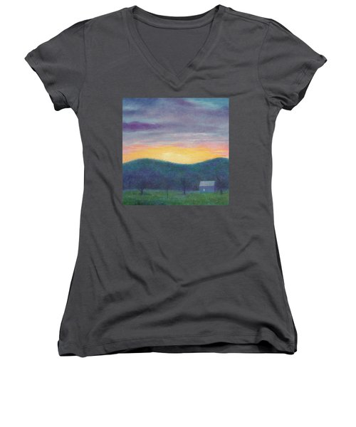 Blue Yellow Nocturne Solitary Landscape Women's V-Neck T-Shirt (Junior Cut) by Judith Cheng
