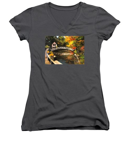 Somesville Maine Footbridge Women's V-Neck T-Shirt (Junior Cut) by Eileen Patten Oliver