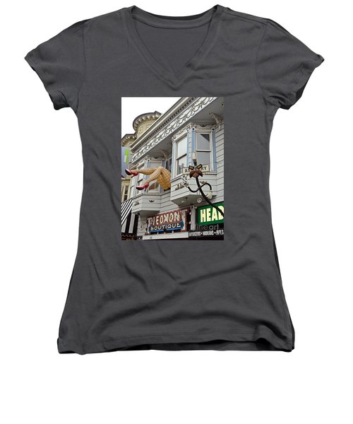 Something To Find Only The In The Haight Ashbury Women's V-Neck T-Shirt (Junior Cut) by Jim Fitzpatrick