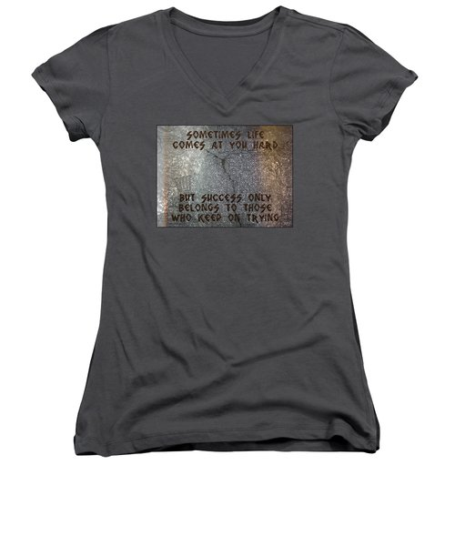Sometimes Life Comes At You Hard Women's V-Neck T-Shirt (Junior Cut) by Absinthe Art By Michelle LeAnn Scott