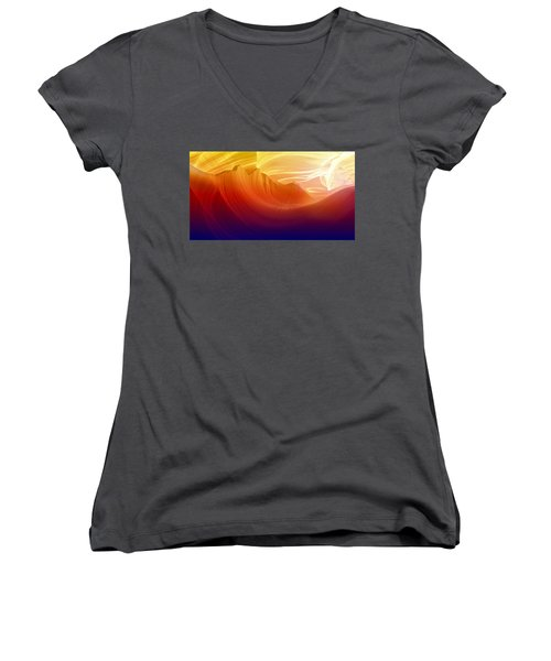 Women's V-Neck T-Shirt (Junior Cut) featuring the photograph Somewhere In America Series - Colorful Light In Antelope Canyon by Lilia D