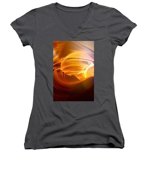 Women's V-Neck T-Shirt (Junior Cut) featuring the photograph Somewhere In America Series - Gold Colors In Antelope Canyon by Lilia D