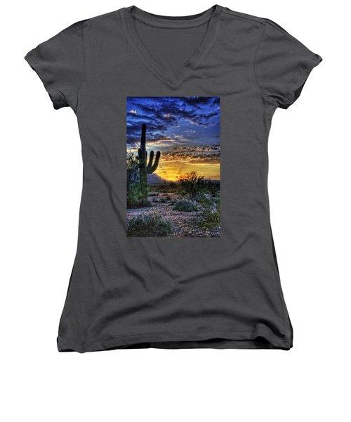 Sonoran Sunrise  Women's V-Neck T-Shirt (Junior Cut) by Saija  Lehtonen