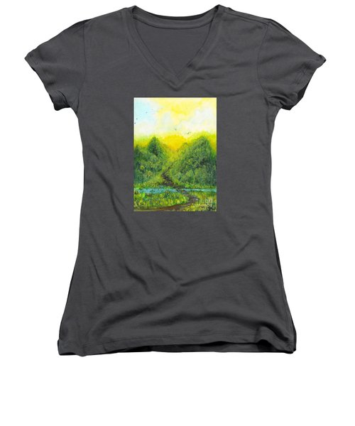 Women's V-Neck T-Shirt (Junior Cut) featuring the painting Sonsoshone by Holly Carmichael