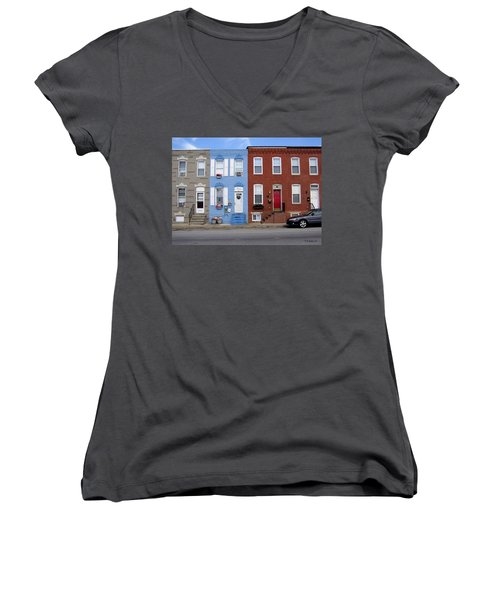 Women's V-Neck T-Shirt (Junior Cut) featuring the photograph South Baltimore Row Homes by Brian Wallace
