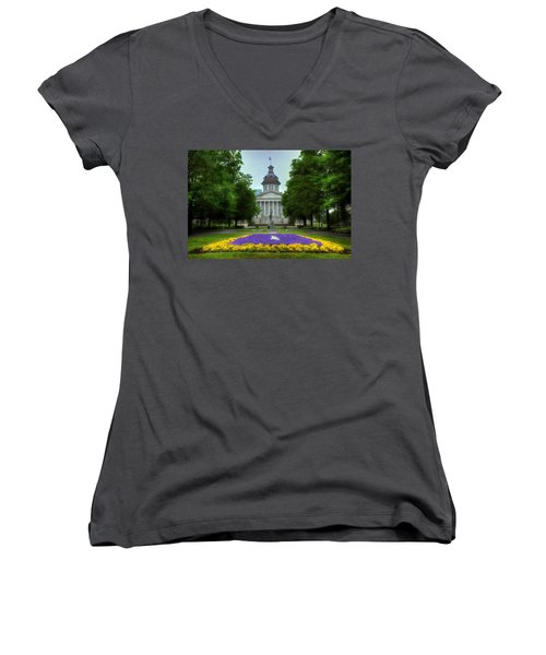South Carolina State House Women's V-Neck T-Shirt (Junior Cut) by Michael Eingle