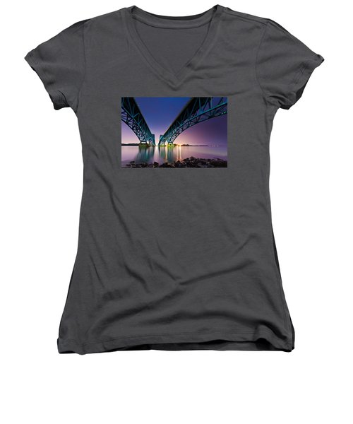 South Grand Island Bridge Women's V-Neck T-Shirt (Junior Cut) by Mihai Andritoiu