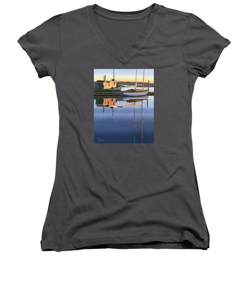 Women's V-Neck T-Shirt (Junior Cut) featuring the painting South Harbour Reflections by Gary Giacomelli