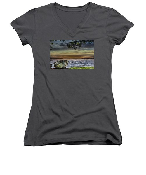South Manistique Lake With Rowboat Women's V-Neck T-Shirt