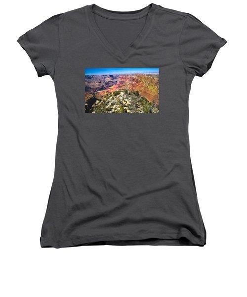 South Rim From The Butte Women's V-Neck T-Shirt (Junior Cut) by Robert Bales