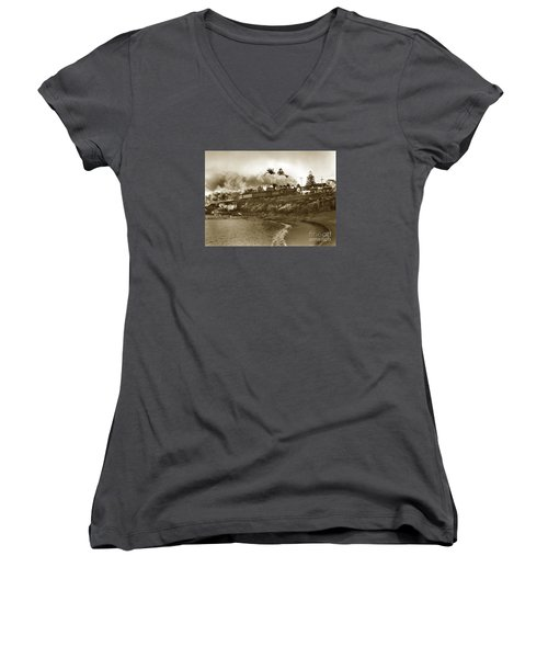 Southern Pacific Del Monte Passenger Train Pacific Grove Circa 1954 Women's V-Neck T-Shirt (Junior Cut) by California Views Mr Pat Hathaway Archives
