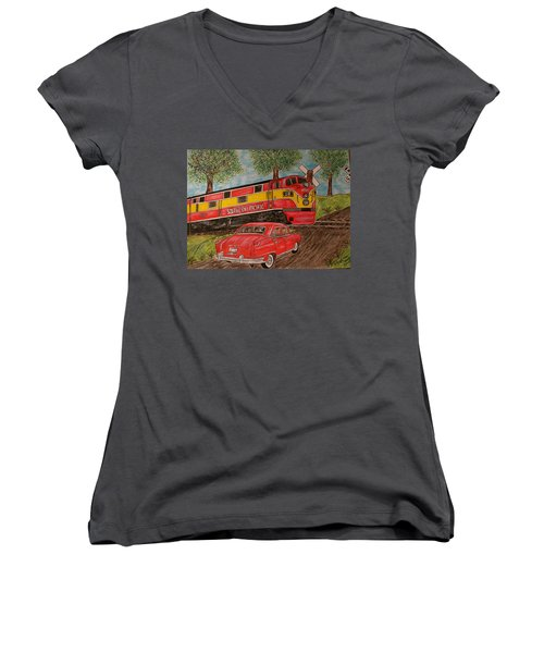 Women's V-Neck T-Shirt (Junior Cut) featuring the painting Southern Pacific Train 1951 Kaiser Frazer Car Rr Crossing by Kathy Marrs Chandler