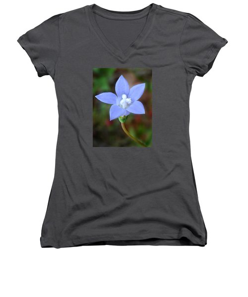 Women's V-Neck T-Shirt (Junior Cut) featuring the photograph Wild Southern Rockbell  by William Tanneberger