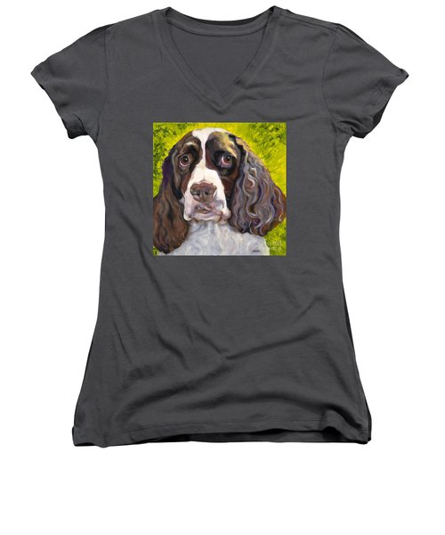 Spaniel The Eyes Have It Women's V-Neck