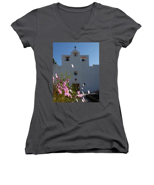 Women's V-Neck T-Shirt (Junior Cut) featuring the photograph Spanish Mission by Susan Rovira
