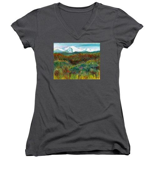 Spanish Peaks Evening Women's V-Neck T-Shirt