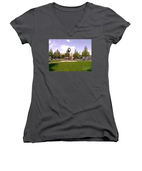 Women's V-Neck T-Shirt (Junior Cut) featuring the photograph Sparks Community Clock by Bobbee Rickard