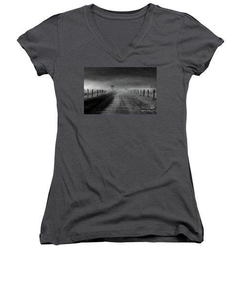 Sparks Lane In Black And White Women's V-Neck T-Shirt