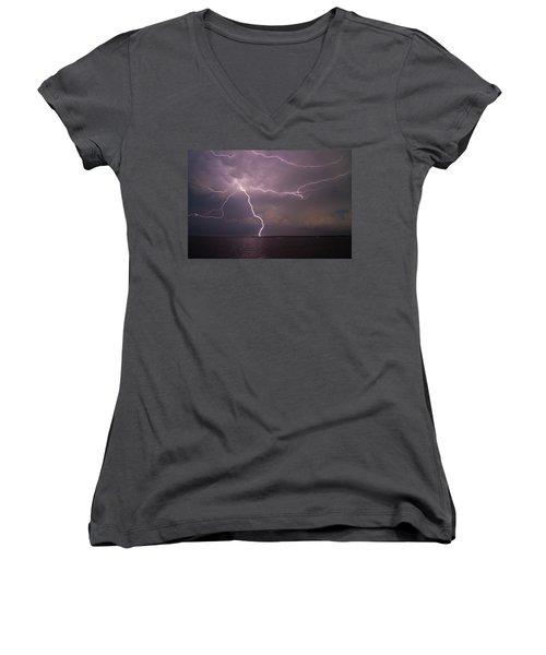 Spider Lightning Over Charleston Harbor Women's V-Neck (Athletic Fit)