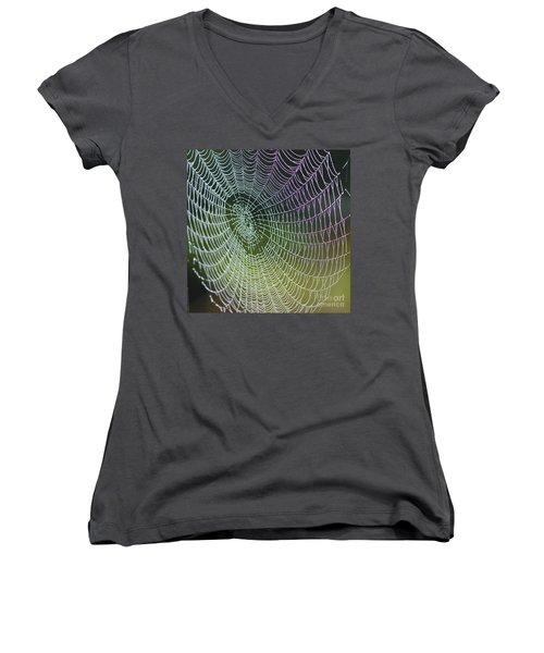 Spider Web Women's V-Neck T-Shirt (Junior Cut) by Heiko Koehrer-Wagner