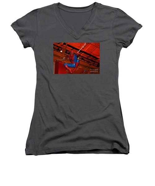 Spiderman Swinging Through The Air Women's V-Neck (Athletic Fit)