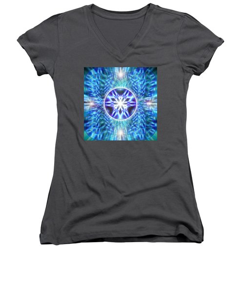 Women's V-Neck T-Shirt (Junior Cut) featuring the drawing Spiral Compassion by Derek Gedney