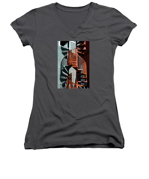 Spiral Stairs - Color Women's V-Neck T-Shirt (Junior Cut) by Darryl Dalton