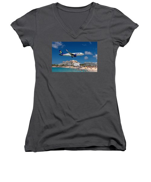 Spirit Airlines Low Approach To St. Maarten Women's V-Neck (Athletic Fit)