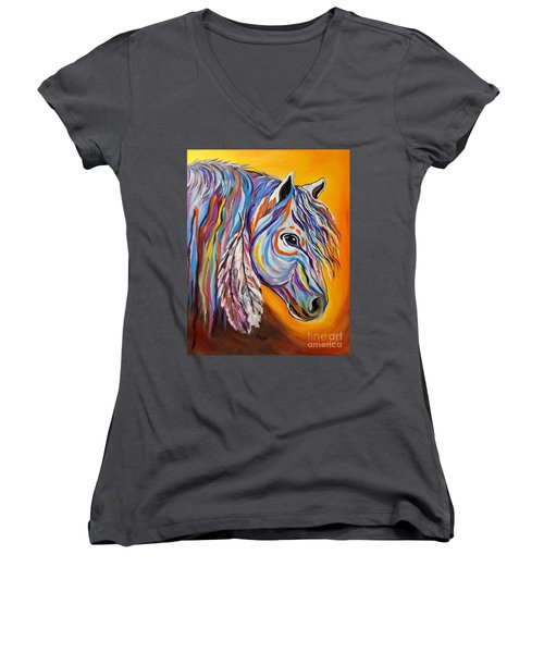 Women's V-Neck T-Shirt (Junior Cut) featuring the painting 'spirit' War Horse by Janice Rae Pariza
