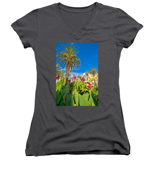 Split Riva Palms And Flowers Women's V-Neck T-Shirt (Junior Cut) by Brch Photography