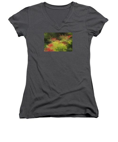 Jardin De Picasso  Women's V-Neck T-Shirt (Junior Cut) by The Art of Alice Terrill