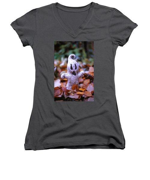 Spooky Autumn Women's V-Neck T-Shirt (Junior Cut) by Aaron Aldrich