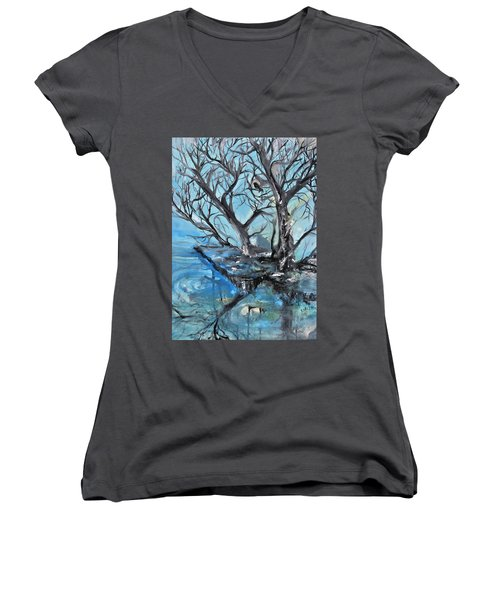 Women's V-Neck T-Shirt (Junior Cut) featuring the painting Spooky Mood by Evelina Popilian