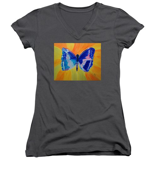 Spreading My Wings Women's V-Neck T-Shirt (Junior Cut) by Meryl Goudey