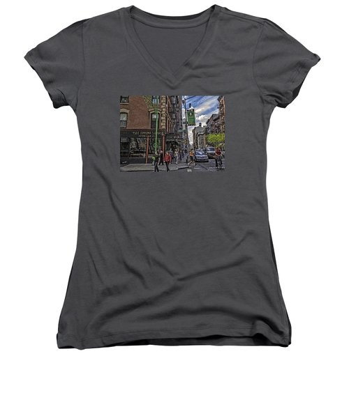 Spring And Mulberry - Street Scene - Nyc Women's V-Neck T-Shirt